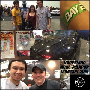 From L to R: Jeric, Black suit Spider-Man, Darth Vader, Daryl, and me. | Day 2 AsiaPOP Comicon 2015 security bracelet | The Knight Industries Two Thousand (K.I.T.T.) | Dino versus Darth | Fight Club 2 cover artist David Mack and me. | My signed issues of Fight Club 2.