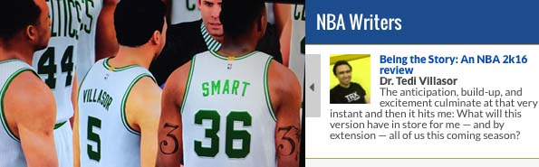 (From Left to Right) - A dream come true:Tedi Villasor was drafted 16th overall by the Boston Celtics in NBA 2K16's McCareer Mode. | The latest article over at the NBA Writer's section of NBA.com/Philippines.